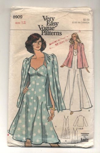 (Vintge Vogue Evening Dress and Jacket Sewing Pattern #8909)