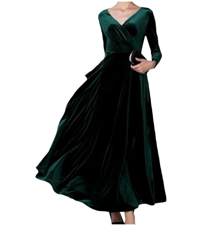 Zimaes Women Vintage Gold Velvet Over Waist Solid Long Maxi Dresses