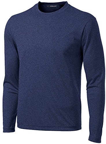 DRI-Equip Long Sleeve Moisture Wicking Athletic Shirt-Large-NavyHeather