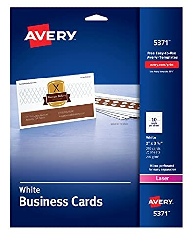 Avery Uncoated Business Cards for Laser Printers, Case Pack of 5 (5371) (Printer For Card)