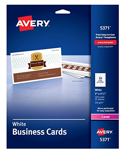 Avery Uncoated Business Cards for Laser Printers, 250 Cards per Pack, Case Pack of 5 ()