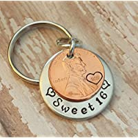 Sweet 16 Happy Birthday Lucky Penny Key Chain with a 2001 Copper Coin