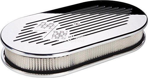 NEW BILLET SPECIALTIES CROSS FLAGS POLISHED ALUMINUM LARGE OVAL AIR CLEANER ASSEMBLY, 15″ LONG X 8 1/2″ WIDE X 3″ TALL WITH K&N LIFETIME FILTER ELEMENT & STAINLESS STEEL HARDWARE