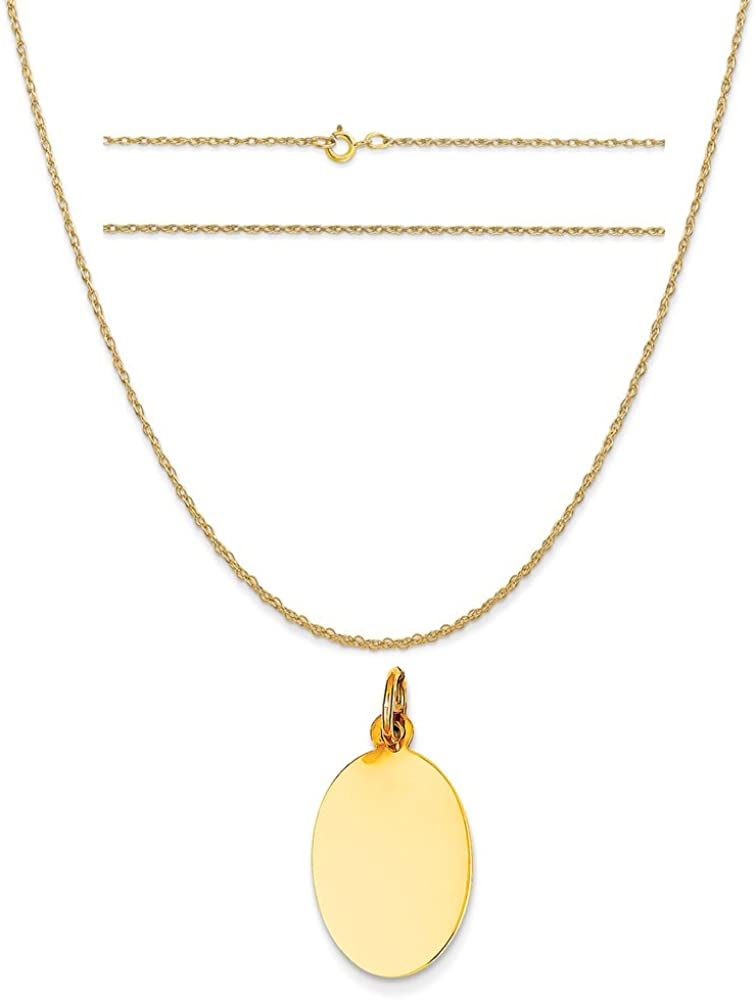 K/&C 14k Yellow Gold Plain .011 Gauge Engravable Oval Disc Charm on a Rope Chain Necklace
