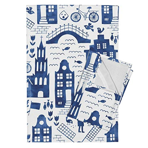 Roostery Dutch Buildings Tea Towels Travel Watercolor Europe Blue Netherlands Tulip Windmill Travel Folk by Heleen Vd Thillart Set of 2 Linen Cotton Tea Towels