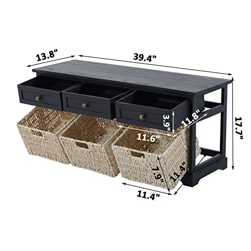 HomCom 40'' 3-Drawer 3-Basket Storage Bench - Antique Black by HOMCOM (Image #7)