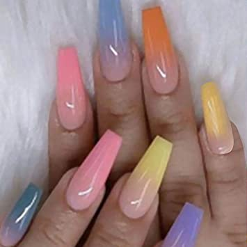 Amazon Com Haloty Coffin Press On Nails Long Glossy Fake Nails Tips Colorful Rainbow Full Cover Acrylic False Nail Hand Jewelry For Women And Girls Beauty The most common coffin nails material is metal. haloty coffin press on nails long glossy fake nails tips colorful rainbow full cover acrylic false nail hand jewelry for women and girls