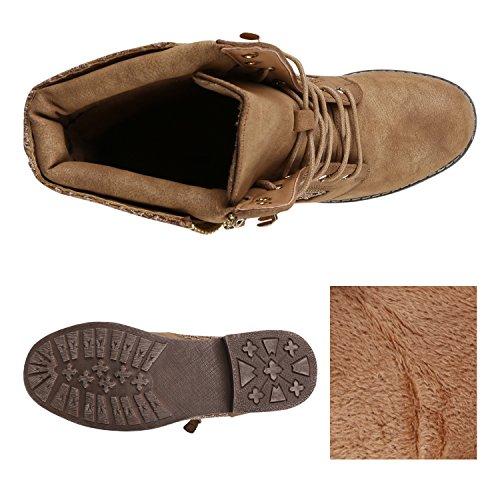 Stiefelparadies Flandell Damen Übergrößen Schnürstiefeletten Spitze Khaki rRrtnx