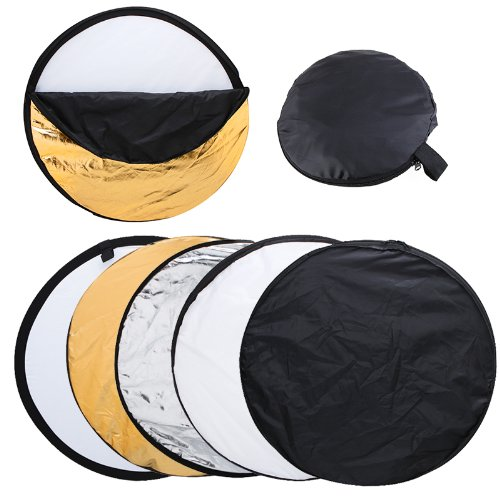 - Andoer 24-Inch 60cm 5 in 1(Gold, Silver, White, Black and Translucent) Portable Photography Studio Multi Photo Disc Collapsible Light Reflector (Photography accessories) (Collapsible)