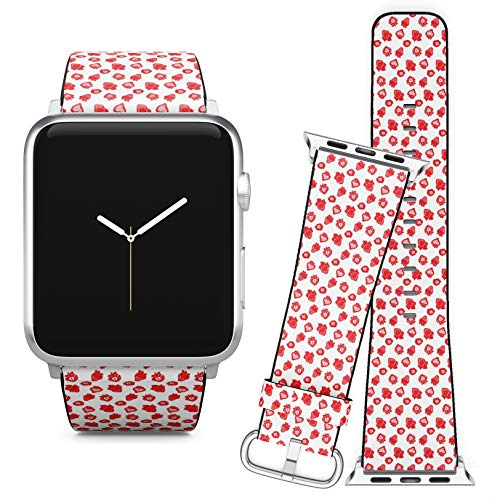Compatible with Apple Watch iWatch (42/44 mm) // Leather Replacement Bracelet Strap Wristband + Adapters // Red Strawberries ()