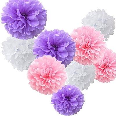 Fonder Mols® 9pcs Mixed Sizes 8'' 10'' 14'' Tissue Paper Pom Poms Flower Wedding Party Baby Girl Room Nursery Decoration