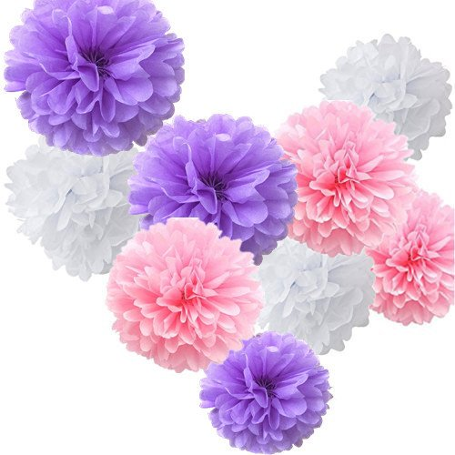 Fonder Mols 9pcs Mixed Sizes 8'' 10'' 14'' Tissue Paper Pom Poms Flower Wedding Party Baby Girl Room Nursery Decoration (White Pink Purple) -