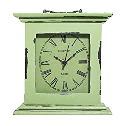 Distressed Vintage Rustic Table/Desk Clock with Top Handle - Wooden Grass Green