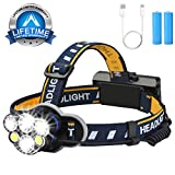 Head Torch, Yoart Headlamp USB Rechargeable Headlight with 6 CREE LED Adjustable 8 Modes Waterproof for Running, Cycling, Dog Walking, Fishing, Hiking