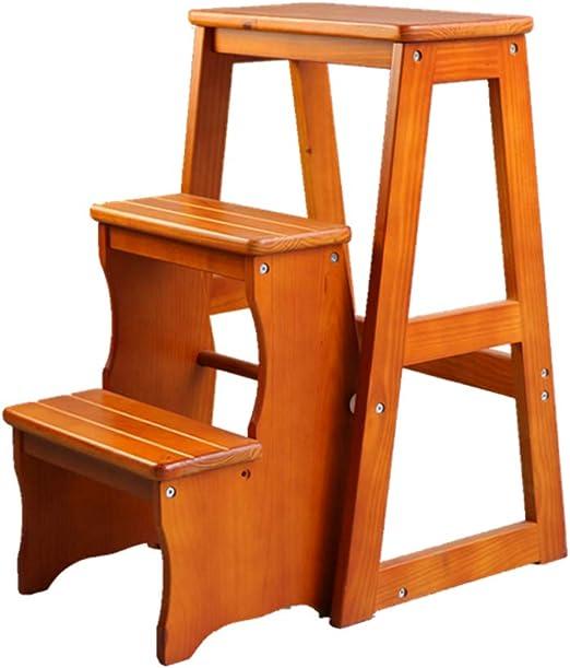 Taburete Plegable De 3 Escalones/Taburete De Escalera De Hogar/Estante para Zapatos, Almacenamiento En El Hogar/Plegable MultifuncióN, Madera, para Biblioteca/JardíN / Oficina/Cocina: Amazon.es: Hogar