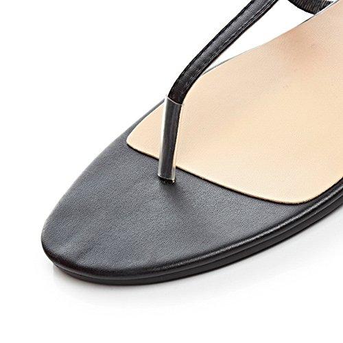 1TO9 Womens Split-Toe Zipper No-Heel Cow Leather Sandals Black HcHJUSbisX