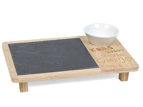 Piatti Cucina In Ardesia : Piatto buffet ardesia e bamboo rettangolare con salsiera cm