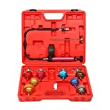 8MILELAKE 14 PCs Pressure Cooling System car Leak Tester Kit Detector Tool Auto Coolant Vacuum Purge Head Gasket Water Tank Adapter Universal Automotive