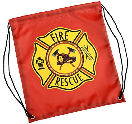 Aeromax Firefighter Drawstring Backpack Red, 6 Pack Drawstring Backpack