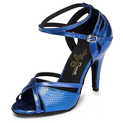 Zapatos De Baile Latino para Mujer Salsa/Tango/Té/Samba/Moderno/Zapatos De Jazz Sandalias Tacones Altos Blue6cm