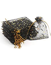 CCINEE 3.5x4.7 Inches Organza Bags Candy Gift Bags 100 Pieces (Stars and Moon Black Bag)