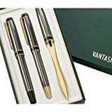 MG Gifts 3 Pcs Set Gun Metal Ballpoint, Rollerball & Letter Opener Includes Gift Box Perfect For Him or Her