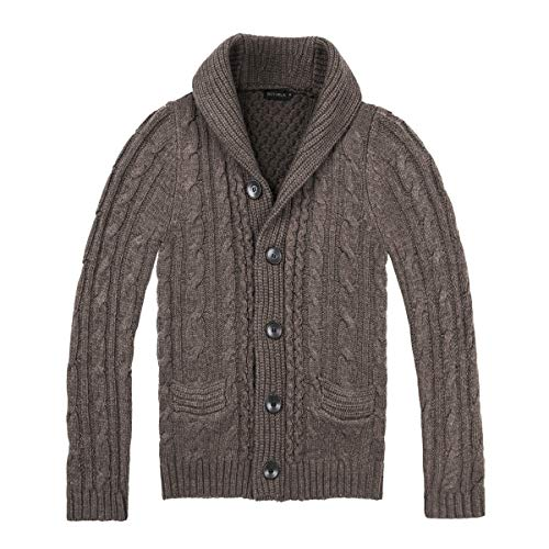 BOTVELA Men's Shawl Collar Cardigan Sweater Button Front Solid Knitwear (XXL, Coffee)