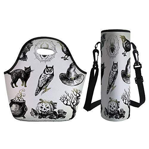 3D Print Neoprene lunch Bag with Kit Neoprene Bottle Cover,Vintage Halloween,Halloween Related Pictures Drawn by Hand Raven Owl Spider Black Cat Decorative,Black White,for Adults Kids -