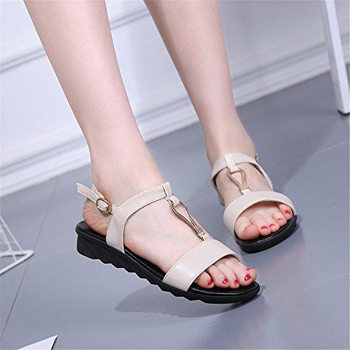 Las mujeres s sandalias de verano T - tipo de amarre - tie non - Zapatos de patinaje Blanco leche
