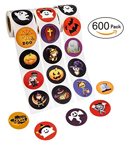 Halloween Favors Stickers Roll - Assorted Jack O Lantern Party Decorations Trick or Treat Goodie Bag Stuffer Filler for Kids - Pumpkin / Bats / Spiders / Witch for $<!--$7.88-->