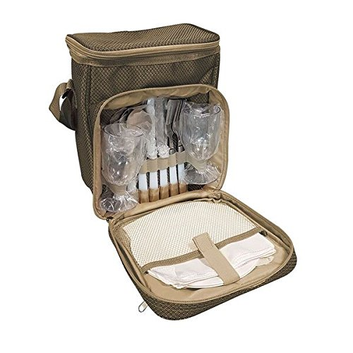 2 Person Fitted Picnic Backpack in Brown (Yellowstone Picnic Basket)