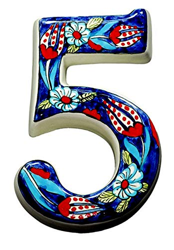 bf14907bdd64 Large Ceramic House address number 5, Dark Blue, 4.7inch Tall, Hand  Decorated, House number signs, Door numbers, Housewarming gifts - -  Amazon.com