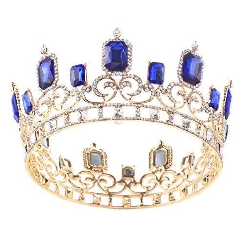 Capri Blue Rhinestone (Stuffwholesale Gold Queen Crown Rectangular Rhinestone Prom Party Headwear (Gold+Capri Blue))