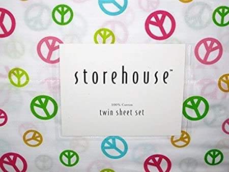 HOUSE STORE Storehouse 100% algodón Doble Hoja Set (Colorido Paz ...