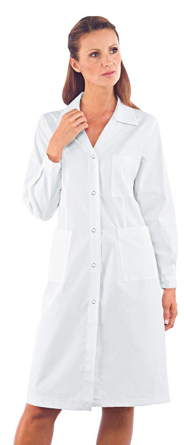 Manica Lunga Bianco 100/% Cotone 3XL Isacco Bianco Isacco Camice Donna Bottoni con asola
