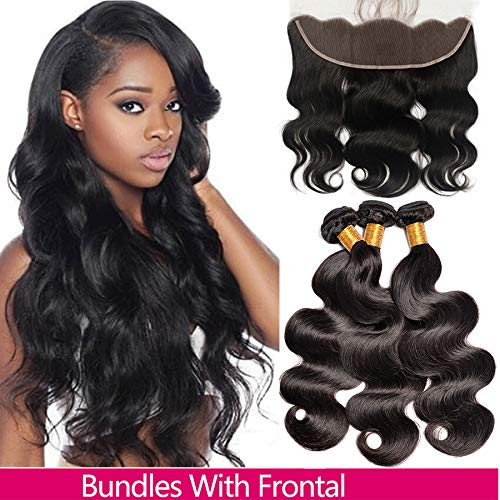 Brazilian Body Wave 3 Bundles With Frontal (10/12/14+10,Natural Colour?Virgin Human Hair Weave And Ear To Ear Lace Frontal Closure With Baby Hair Free Part