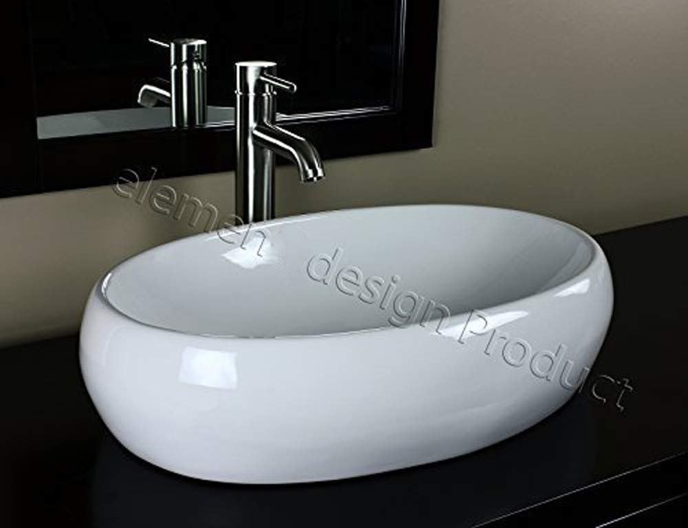 Bathroom Ceramic Vessel Sink 7680L3 With Brushed Nickel Faucet Drain