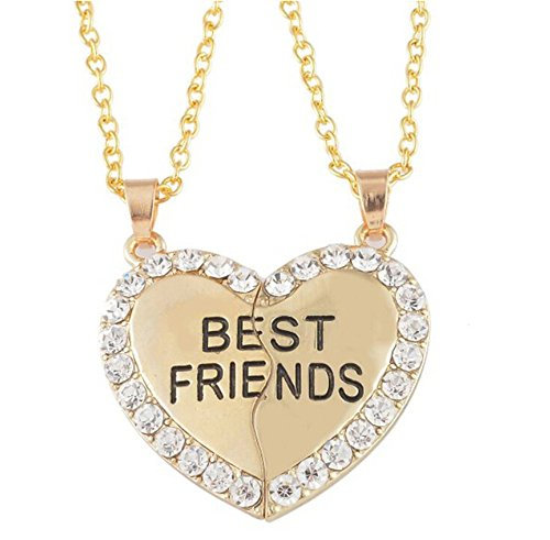 Fusicase Best Friends Forever Love Heart BFF Rhinestone Pendent Friendship Necklaces Gift for Friends(Silver) (Love Forever Rhinestone)