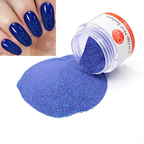 - Blue Glitter Nail Dipping Powder (added vitamin) I.B.N Acrylic Dip Powder Colors, 1 Ounce/28g, No Need Nail Dryer Lamp Cured (DIP 054)