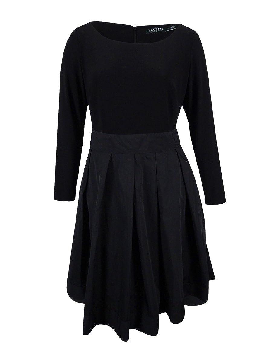 a78fe41c38e LAUREN RALPH LAUREN Womens Jersey Tea Length Special Occasion Dress Black  18W at Amazon Women's Clothing store: