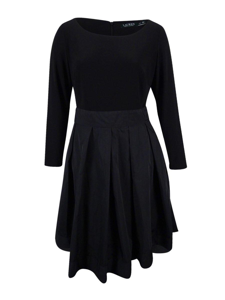 Lauren Ralph Lauren Women's Jersey & Taffeta Party Dress (18W, Black)