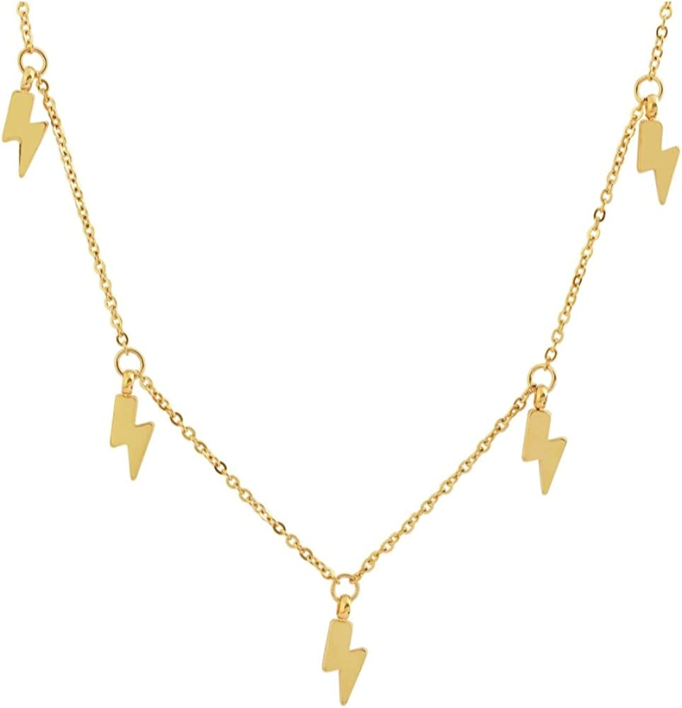 "Edforce 18k Gold Plated Lightning Bolt Pendant Necklace, 15""+2"" Extender"