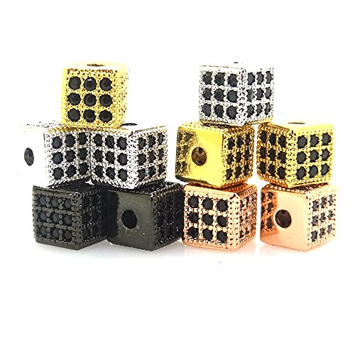 jennysun2010 Black Zircon Gemstones Cubic Zirconia Pave Square Cube 6x6mm Bracelet Connector Charm Beads Randomly Mixed 3 pcs per Bag for Bracelet Necklace Earrings Jewelry Making Crafts Design