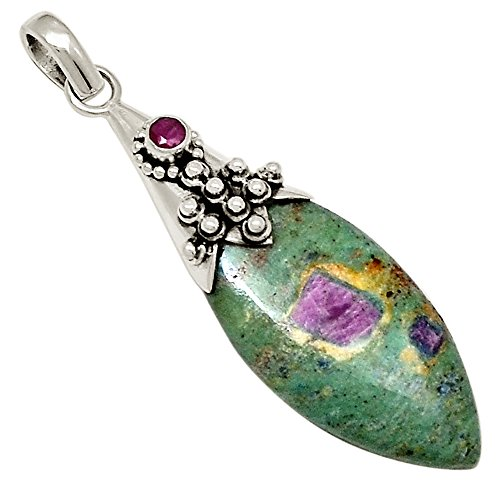 "Xtremegems Ruby In Fuchsite & Ruby 925 Sterling Silver Pendant 2"" 19030P from Xtremegems"