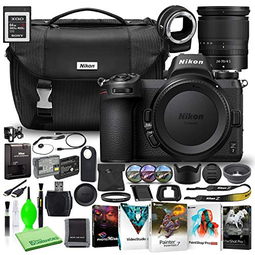 Nikon Z7 45.7MP Mirrorless Digital Camera with 24-70mm Lens (1594) USA Model Deluxe Bundle with Sony 64GB XQD Memory Card + Nikon FTZ Adapter + Nikon Camera Bag + Corel Editing Software + Filter Kit