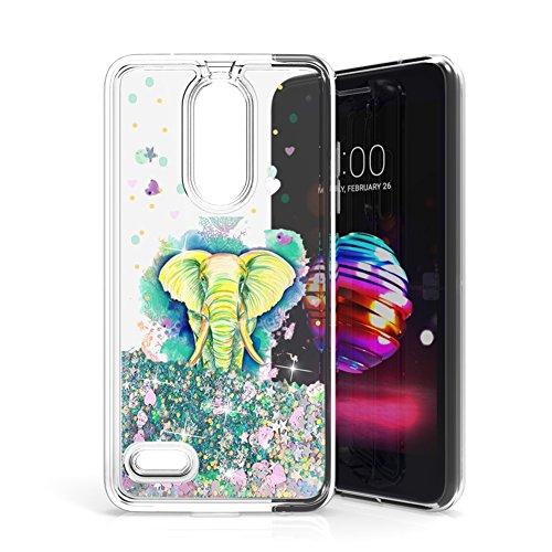 LG Phoenix Plus Case, LG K30 Case, LG Premier Pro Case, ANLI Slim Fit Fashion Interesting Glitter Clear TPU Protective Case for LG K10 2018 (Elephant - Green)