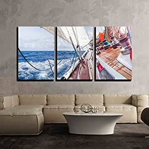 "wall26 - 3 Piece Canvas Wall Art - Sail Boat Navigating on the Waves - Modern Home Decor Stretched and Framed Ready to Hang - 16""x24""x3 Panels"