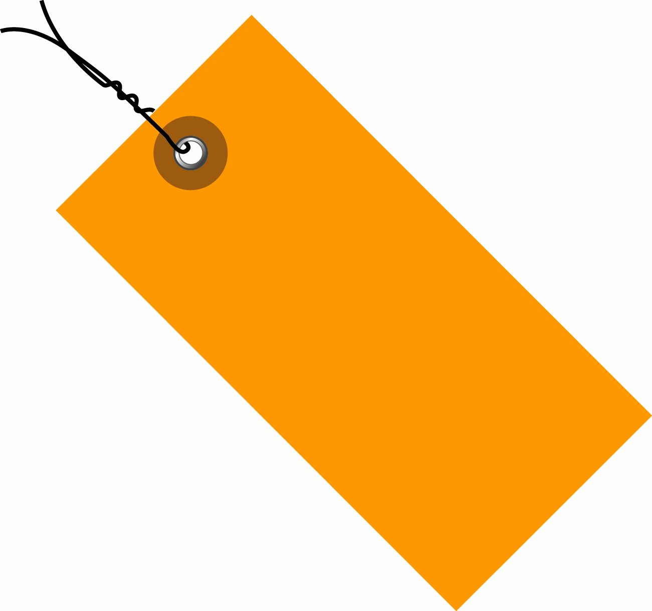 TYVEK Empty-Eyelet Pre-Wired Shipping Blank Tag, Spunbonded Olefin, 5-1/4'' H x 2-5/8'' W, Orange (G14063E)