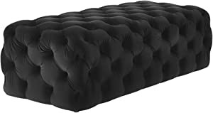 TOV Furniture The Kaylee Collection Modern Style Living Room Jumbo Velvet Upholstered Button Tufted Ottoman, Black
