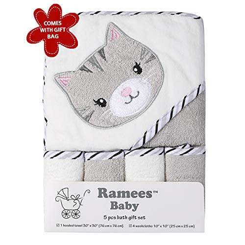 (Ramees Baby Hooded Bath Towel and Washcloths, 5 Pack, Warm Grey Cat)